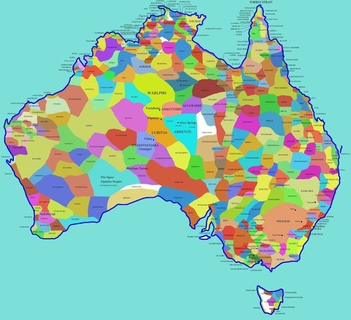Map of Australian Aboriginal tribes prior to European arrival.