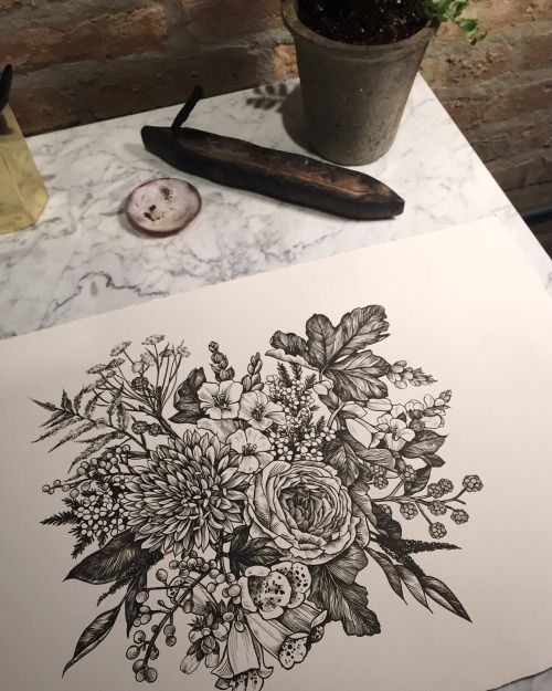 Flowers for @thegirlwiththelittlecurl, who makes beautiful things at Asrai Garden.  Drawn at Black Oak Tattoo // ink and brush on Arches