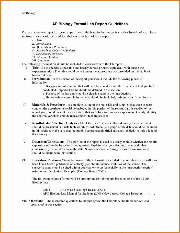 formal lab report example fresh lab report word template