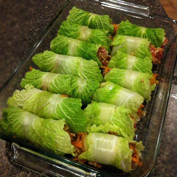 Asian Stuffed Cabbage Rolls, gluten free. Change rice to quinoa.