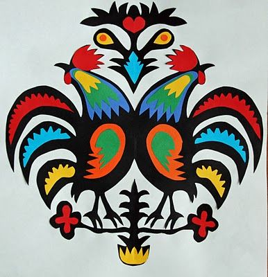 Rooster Wycinanki - Gail Bartel (thatartistwoman): Paintings Techniques, Crafts Ideas, Folk Art, Art Lessons, Artists Woman, Art Ideas, Roosters Wycinanki, Cut Paper, Art Projects