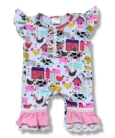 8f2d34e53028 Loving this White   Pink Farm Print Ruffle-Cuff Angel-Sleeve Playsuit -  Infant on  zulily!  zulilyfinds