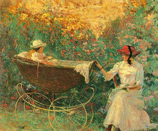 """""""Ninando no Jardim"""".  (1916). (by Eliseu Visconti). Museu Castro Maia."""
