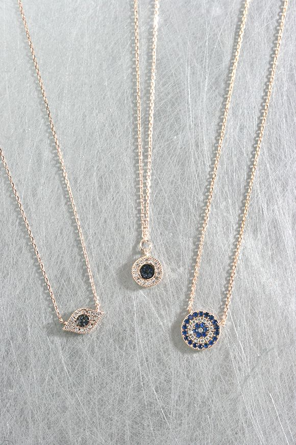 Rose Gold Sapphire Blue Small Disc Evil Eye Necklace Sterling Silver on kellinsilver.com