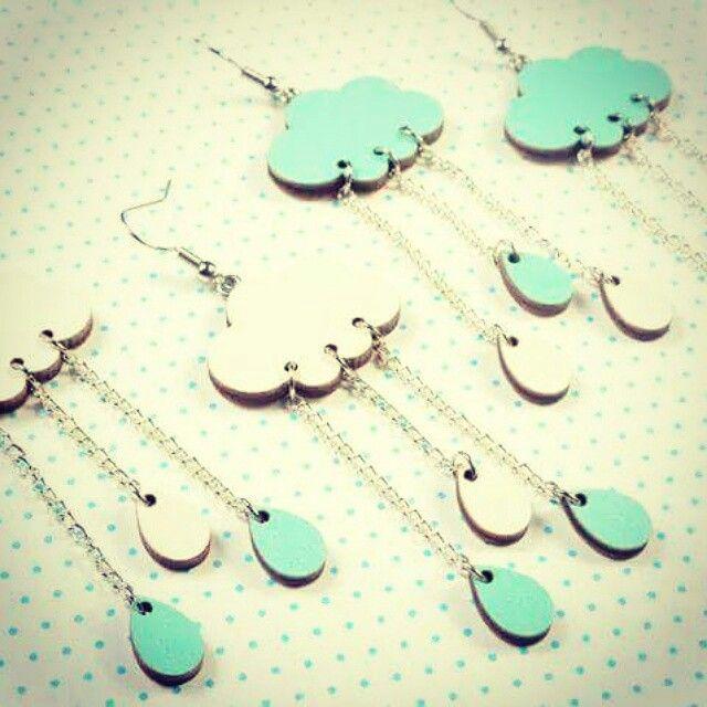 cloud and drop earrings www.etsy.com/shop/mintapalinta