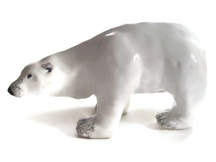 ours blanc c ramique d corative artisanale accessoires de maison par crisland animaux en. Black Bedroom Furniture Sets. Home Design Ideas