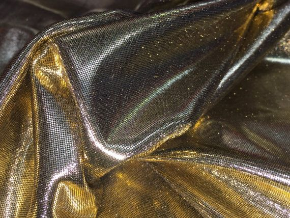 Gold shiny foil stretch Shiny Metallic spandex fabric dress dance costumes dressmaking Pantomime drapery dress sewing fabrics Per Metre