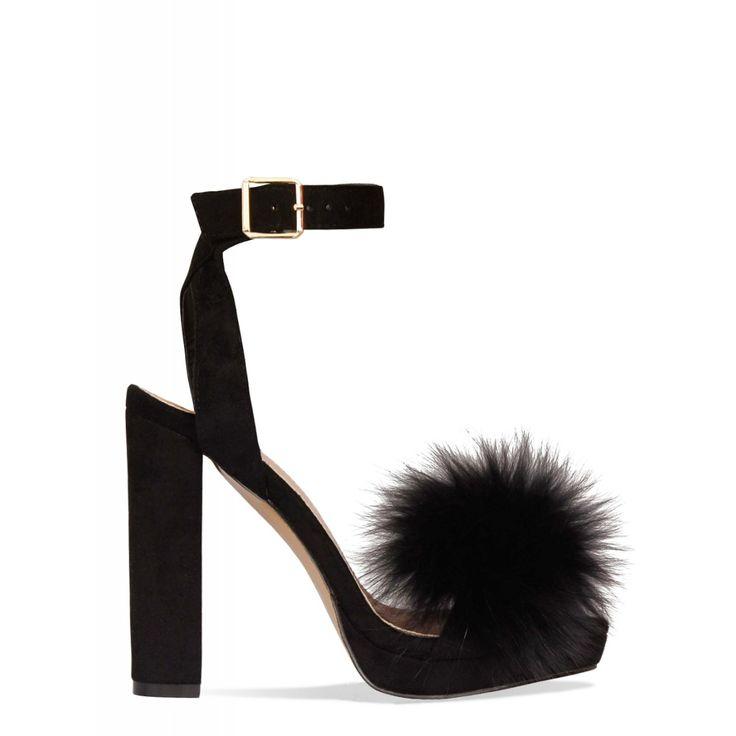 Daphne Black Suede Block Heel Faux Fur Heels : Simmi Shoes https://ladieshighheelshoes.blogspot.com/2016/10/womens-shoes.html