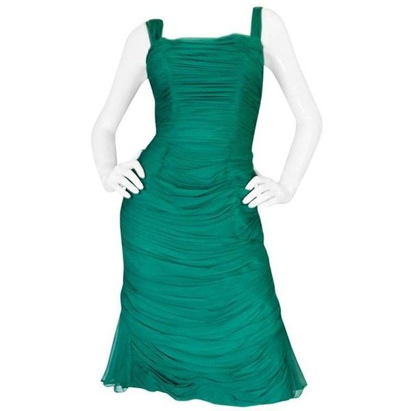 Preowned Rare C1958 Jean Desses Green Silk Elaborate Pleat Dress ($3,400) ❤ liked on Polyvore featuring dresses, green, green dress, cocktail dresses, wrap dress, polka dot cocktail dress and blue evening dresses