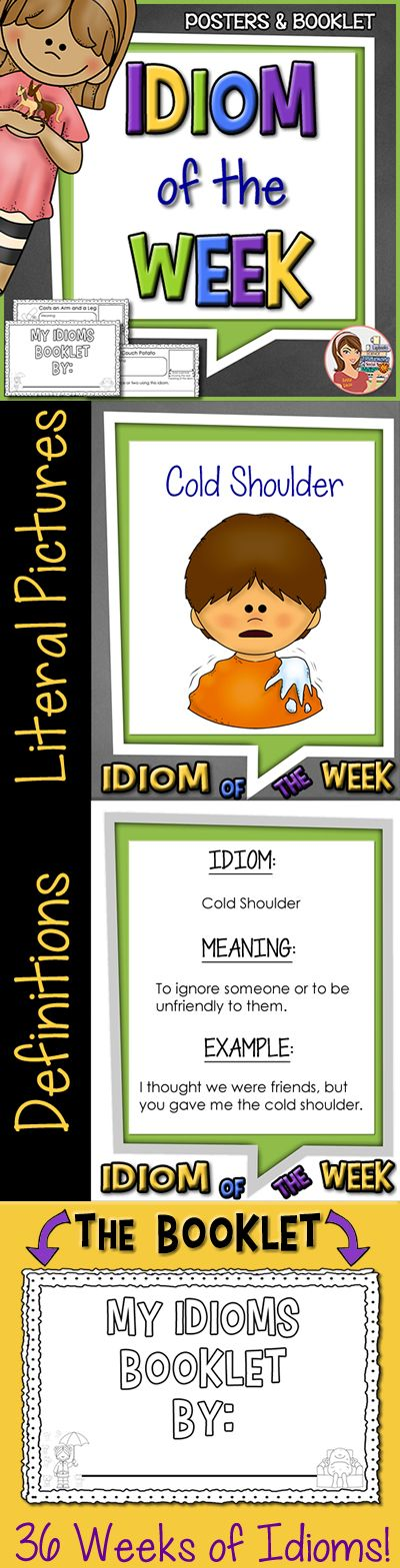 Idiom of the week posters and student booklet (36 weeks!).