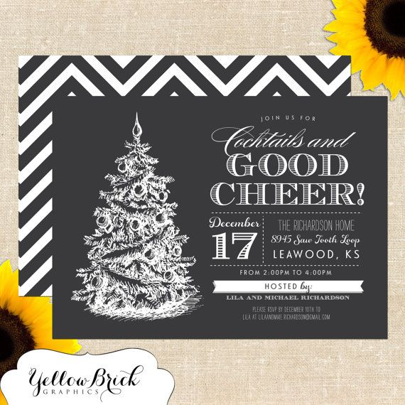 Nice Open House Christmas Party Ideas Part - 10: Chalkboard Holiday / Christmas Party Invitation DIY PRINTABLE