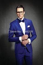 2015 de veludo azul noivo smoking ternos para homens 3 peças ternos homens casamento ternos do noivo smoking com calças(China (Mainland))