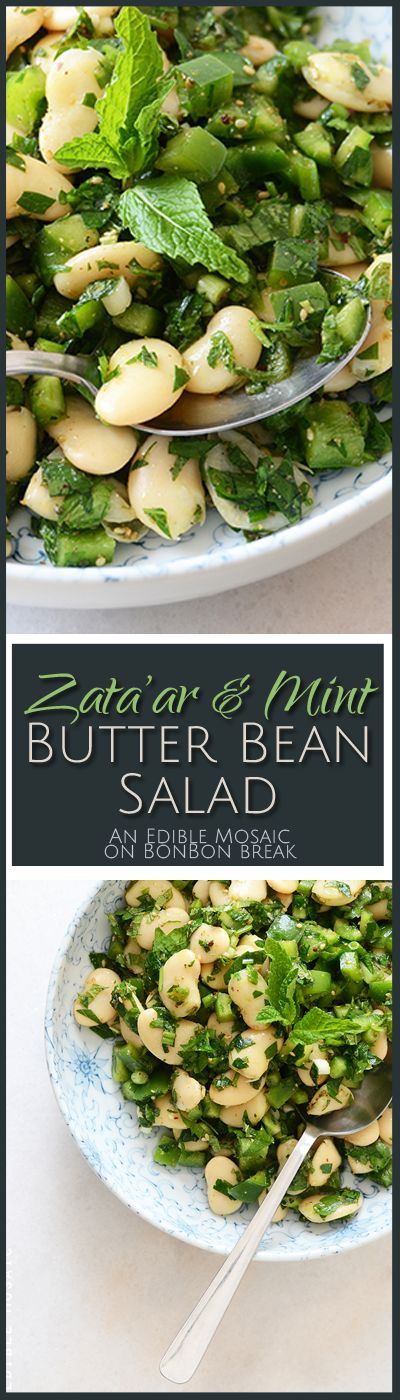 The rich, creamy texture of butter beans pairs really well with the fresh crunch of green pepper and bright-flavored herbs in this Zata'ar & Mint Butterbean Salad.