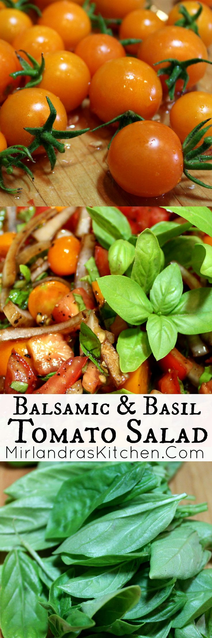 This tomato salad with basil, sweet onions, and reduced balsamic vinegar is easy, healthy, and beautiful. Everybody wants seconds all summer long.  If you have never reduced balsamic before this is the time to learn!  I include all the info on how to turn a giant $10 bottle of vinegar into one that tastes like a $100 bottle!  Also, my recommendation for a cherry tomato plant to grow this summer.