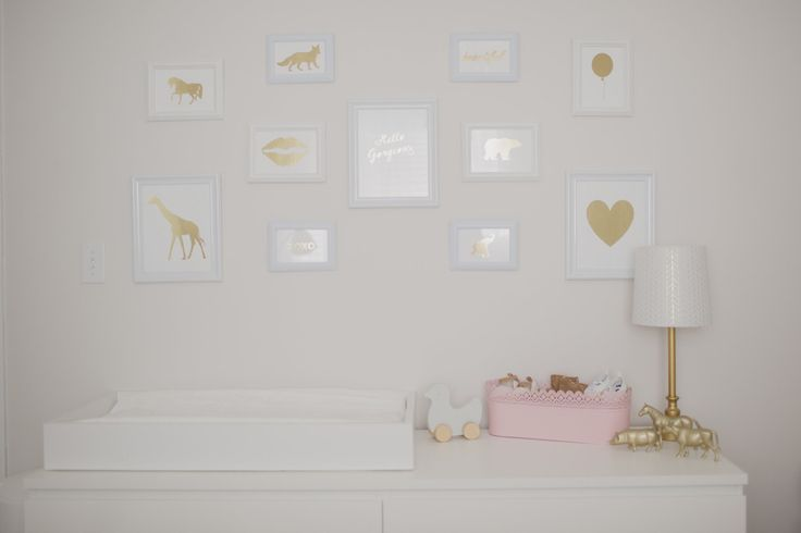 DIY Gold Wall Prints in a Nursery Gallery Wall - #nursery #gallerywall: Girl Room, Baby Girl, Nursery Room, Girl Nursery, Baby Nursery, Nursery Gallerywall, Nursery Gallery Walls