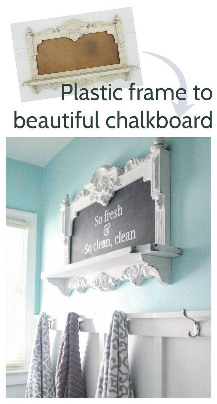 Turn any old frame into a diy chalkboard, plus tips for painting plastic to look like wood, so fresh and so clean clean bathroom art