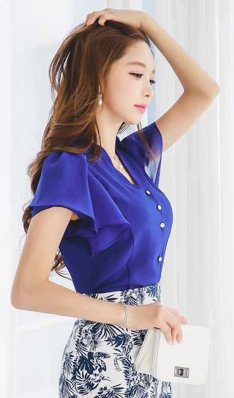 StyleOnme_Butterfly Sleeve Mandarin Collar V-Neck Chiffon Blouse #electric #blue…