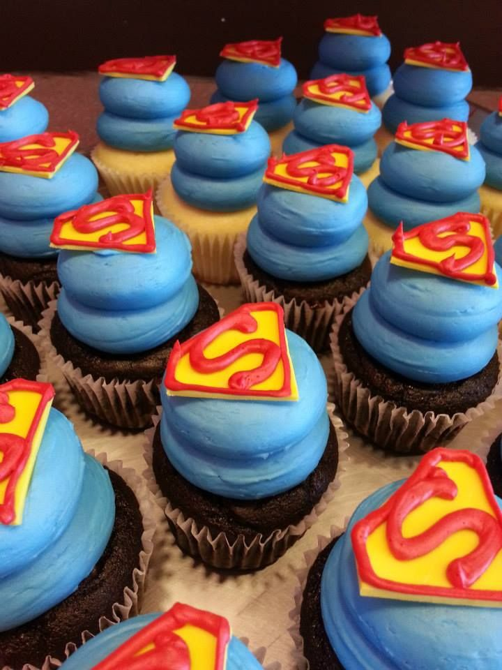 Superman cupcakes!  We can make every celebration sweeter! www.gigiscupcakesusa.com/sugarlandtexas