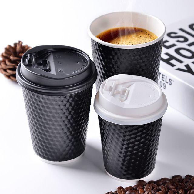 Одноразовые бумажные кофейные чашки с крышкой двойной слой толщиной изоляции молоко чашка ну вечеринку Drinkware 100 шт./лот SK746