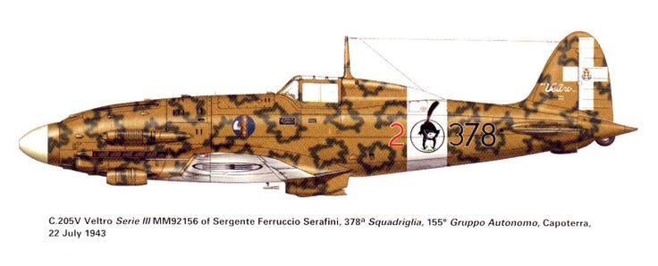 Artwork Macchi C.205 51S155G378SA 378 2 Ferruccio Serafini MM92156 Capoterra 1943 0A