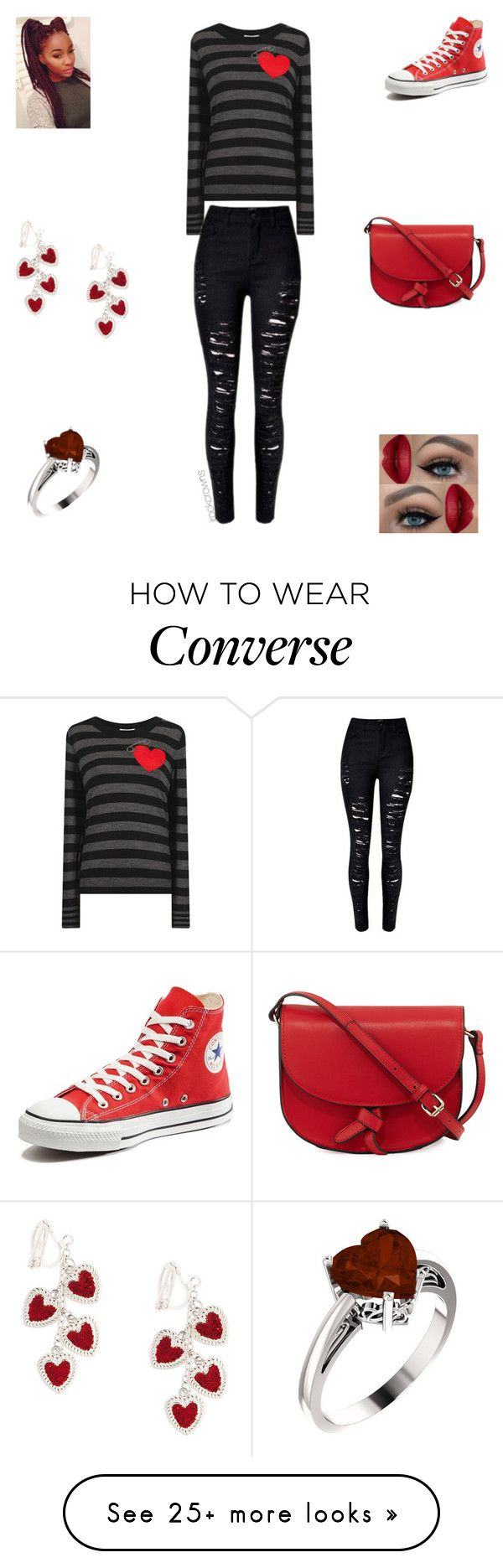 """Hearts"" by irockcrowns on Polyvore featuring Sonia by Sonia Rykiel, Converse and KC Jagger"