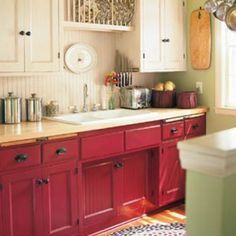 I Love This Almost Red Stain Looking Color On The Lower Cabinets Fun