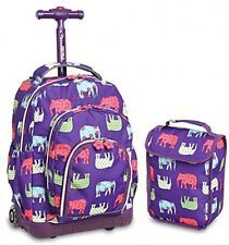 J World New York Lollipop Kids Rolling Backpack Lunch Bag Wheel Elephant