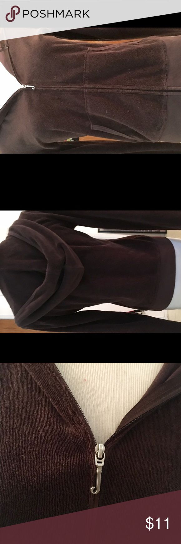Juicy Couture Brown Zip Up Hoodie Juicy Couture chocolate brown zip up hoodie. Gently used. No rips, tears or stains.  Very good condition. Nice color. Really cute!  I originally listed this as velour, but occurred to me it's terry cloth. Sorry for any confusion ☹️ Juicy Couture Tops Sweatshirts & Hoodies