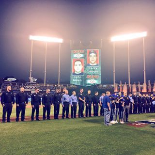 The #Royals honored the 2 fallen Kansas City Fire Department firefighters with a moment of silence before today's game. | royals.com