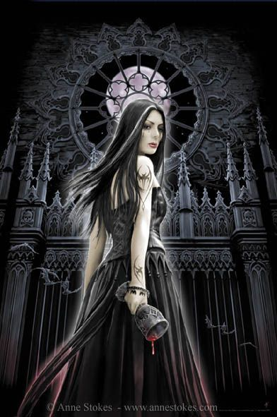 Anne Stokes | Gothic Siren | The image should ideally be viewed accompanied by church organ music! Poster image for Reinders posters.