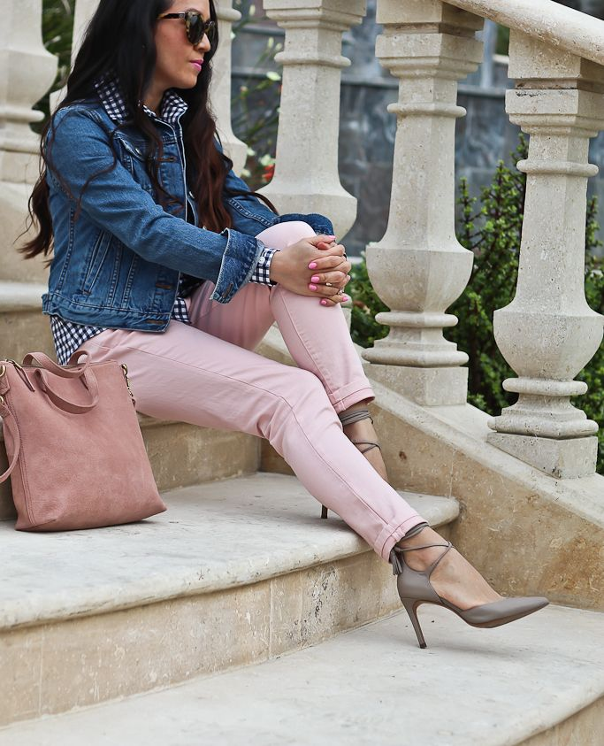 Petite denim jacket, MADISON 12-HOUR ANKLE-WRAP PUMP, MINI TRANSPORT SUEDE CROSSBODY BAG, petite gingham shirt, pink skinny crop jeans, casual style, casual outfit, spring fashion, petite fashion blog - click the photo for outfit details!