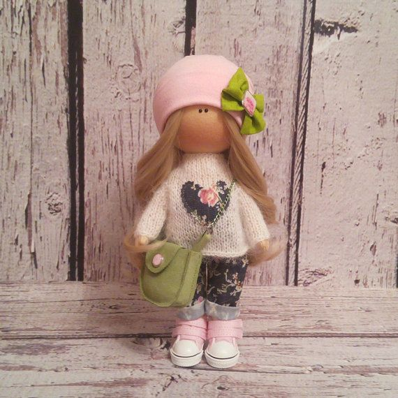Love doll doll Tilda doll Art doll handmade blonde pink colors Interior Rag doll Cloth doll Fabric doll Home doll by Master Irina Bukina