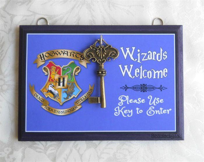 Wizard Harry Potter Door Sign - Wood & Sticker Paper with Door Key- Blue colour