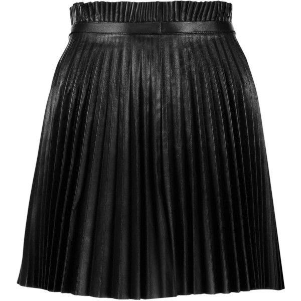 REDValentino Pleated leather mini skirt (1.475 BRL) ❤ liked on Polyvore featuring skirts, mini skirts, black, stretchy skirts, pleated miniskirt, short leather skirt, stretch skirts and short skirts