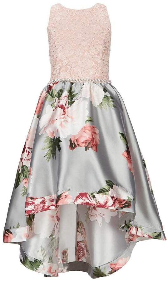 ceee21f857ce Xtraordinary Big Girls 7-16 Lace/Floral High-Low Hem Dress  #bodice#lace#jeweled
