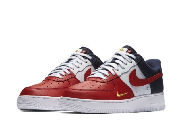 This upcoming Nike Air Force 1 Low comes with a tri-colored upper and mini Swoosh branding on the toe.
