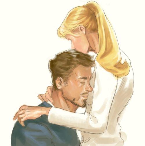 [Fanart: Pepper Potts kissing Tony Stark's head; he's eaning on her chest] c0oma:  pepperony!