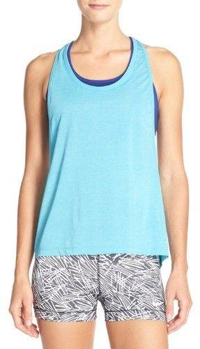 Nike Women's 2-in-1 Pro Inside Loose Tank Top (X-Small, Omega Blue (418) / Ocean/Omega Blue)