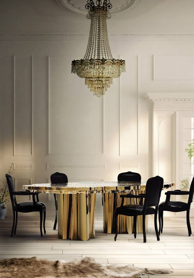 Fortuna Dining Table | Limited Edition An elegant composition of scaled brass tubes supporting the outlines of log rings in brass, related do the time life of a tree. @covetlounge @bocadolobo