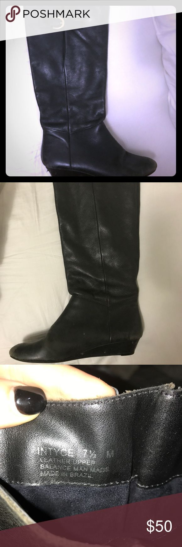 """""""Intyce"""" Steven by Steve Madden boots sz 7.5 Black leather boots by Steven for Steve Madden. Sz 7.5 in good used condition. Hits just below the knee with a small wedge heel. Steven By Steve Madden Shoes Heeled Boots"""