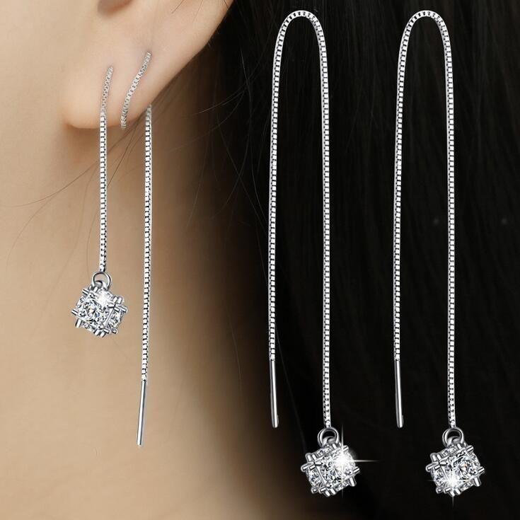 925 Sterling Silver Butterfly Zircon Tassel Long Drop Earrings Women Fashion Jewelry,Silver