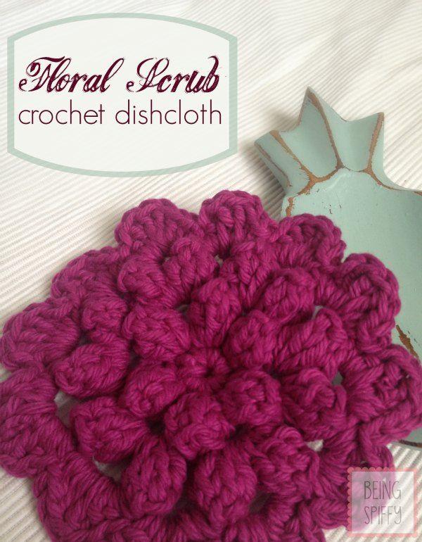 Floral Scrub Crochet DishclothPattern  beingspiffy