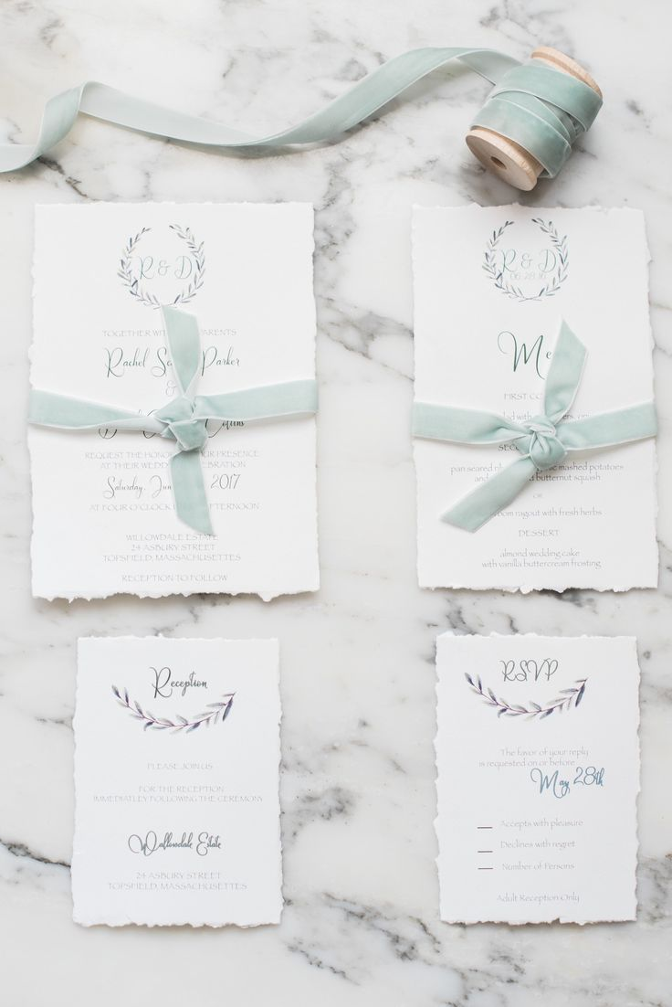 The wreath invitation suite from our new collection. The deckled edge and the light green velvet ribbon are beautiful details for this suite.    Check out our website for more  www.boxedweddinginvitations.com   #invitationcard