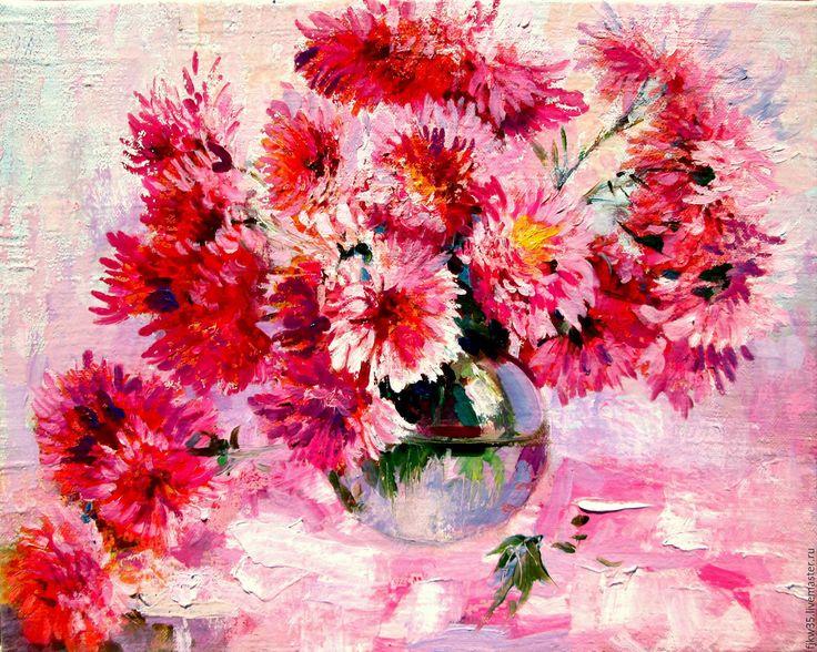 """Купить Картина маслом """"Осенние хризантемы"""" - хризантемы, букет хризантем, картина в подарок, картина"""