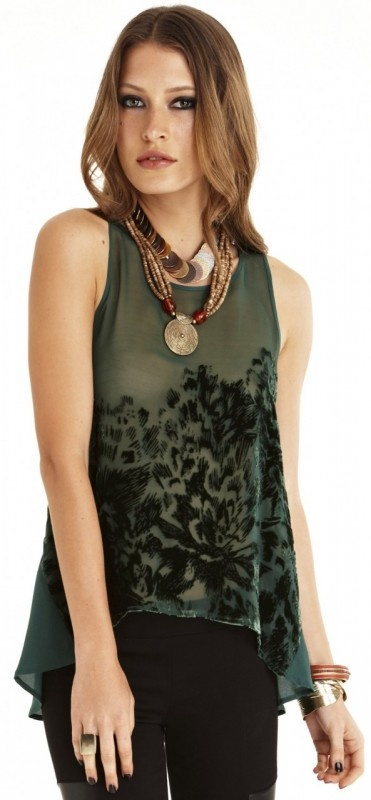 Trepid Top by WISH  Now: $99.95 #velvet #top #forest green