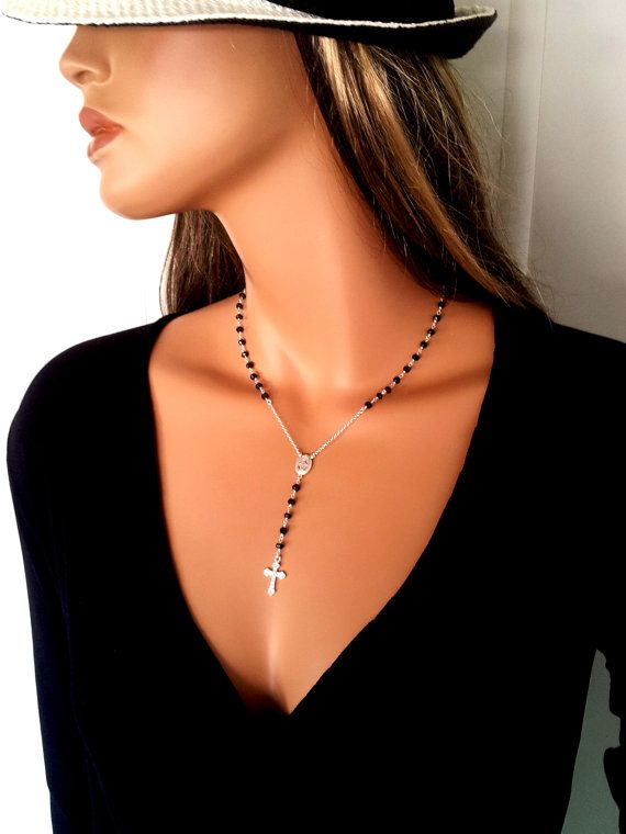 Black Spinel Rosary Necklaces Sterling by divinitycollection
