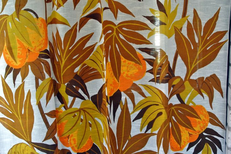 Pair of Swedish vintage 1960s highquality linenprepared cotton curtains with printed large fruit/ leafe motive on bonewhite bottom by NORDICARTCURIOSITY on Etsy
