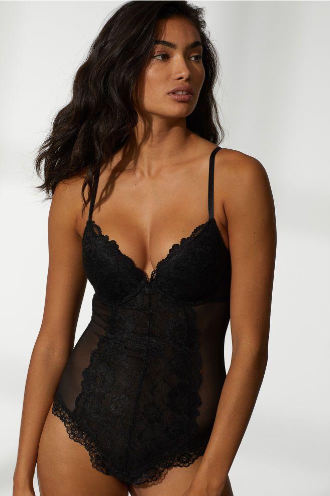 e17460ac924 Push-up Thong Bodysuit - Black - Ladies