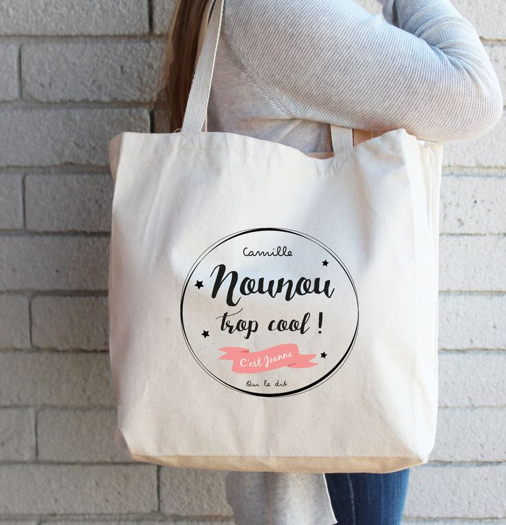 Sac tote bag personnalisé pour une nounou trop cool ! Sac fourre-tout aux multiples usages, on l'adore. Un cadeau fait-main qui plaira à coup sûr.