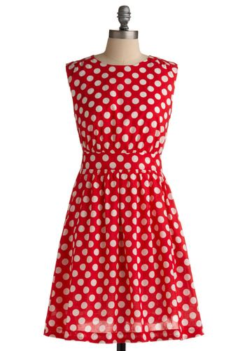 Too Much Fun Dress in Cherry by Emily and Fin - Red, White, Polka Dots, Cutout, Pockets, Party, Casual, A-line, Sleeveless, Mid-length, Cotton, Fit & Flare, International Designer